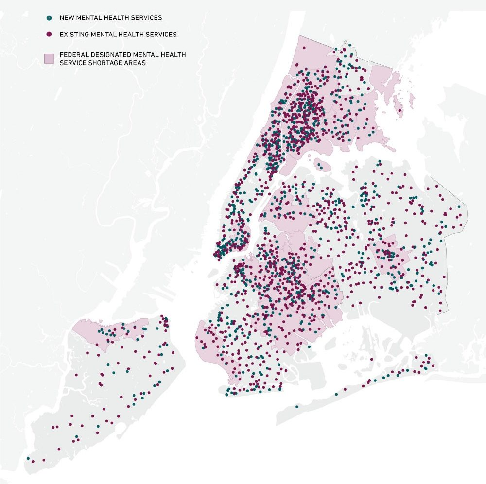 Map showing new and existing mental health care facilities in NYC.
