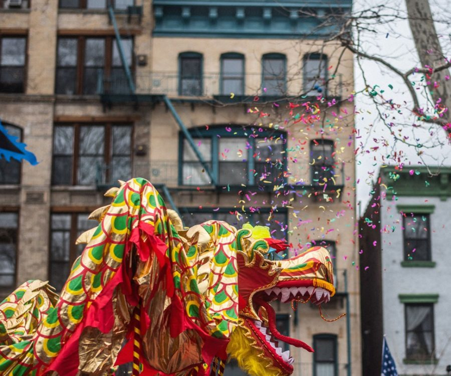 Photograph of Chinese New Year parade in NYC.